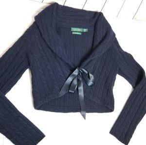 RALPH LAUREN 100% Cashmere tie front sweater